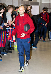Javier Mascherano of FC Barcelona arrives at Manchester Airport with the squad ahead of the UEFA Champions League tie against Manchester City - Photo mandatory by-line: Matt McNulty/JMP - Mobile: 07966 386802 - 23/02/2015 - SPORT - Football - Manchester - Manchester Airport