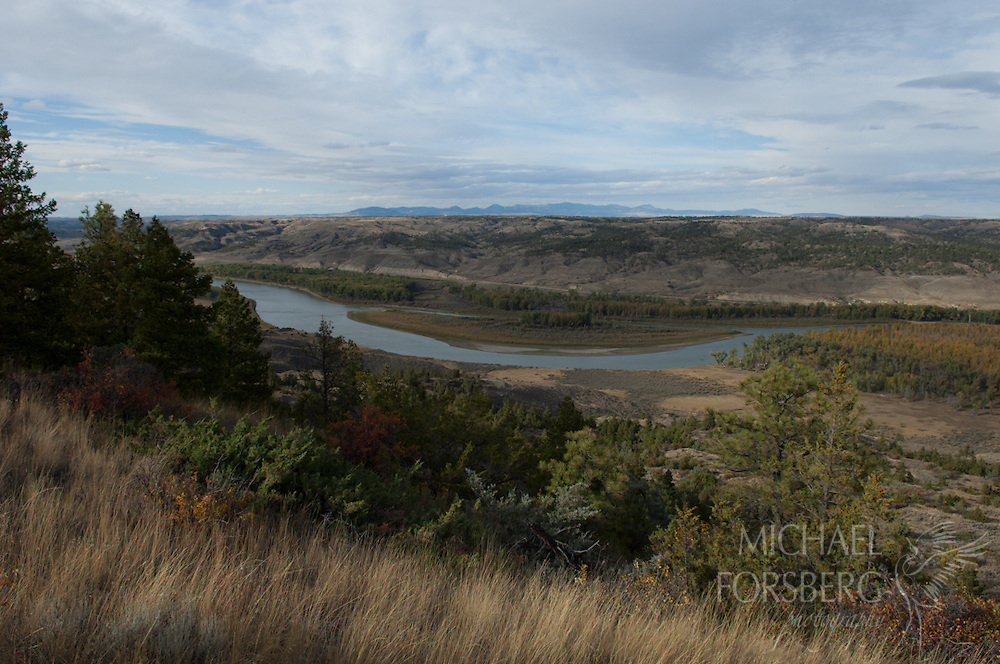 Upper Missouri Wild and Scenic Riverway, Charles M Russell National Wildlife Refuge, Missouri River breaks, Montana<br /> <br /> Missouri breaks, river valley and Little Rockies in fall color