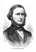 Gustave Robert Kirchhoff (1824-1887), German physicist. Together with Robert Wilhelm Bunsen (1811-1899) he pioneered spectrum analysis, and formulated two laws governing electric networks. From 'The Science Record'. (New York, 1873). Engraving.