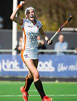 AMSTELVEEN - Yibbi Jansen (Oranje-Rood) heeft gescoord    tijdens   de hoofdklasse competitiewedstrijd dames hockey Pinoke-Oranje-Rood (0-5).   COPYRIGHT KOEN SUYK
