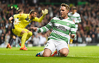 02/10/14 UEFA EUROPA LEAGUE<br /> CELTIC v GNK DINAMO ZAGREB<br /> CELTIC PARK - GLASGOW<br /> Celtic's Kris Commons celebrates after opening the scoring