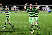 Forest Green Rovers Mark Ellis(5) salutes the fans after the final whistle during the Vanarama National League match between Forest Green Rovers and Solihull Moors at the New Lawn, Forest Green, United Kingdom on 21 March 2017. Photo by Shane Healey.