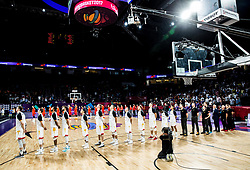 Players of Germany listening to the National anthem prior to the basketball match between National Teams of Germany and Spain at Day 13 in Round of 16 of the FIBA EuroBasket 2017 at Sinan Erdem Dome in Istanbul, Turkey on September 12, 2017. Photo by Vid Ponikvar / Sportida