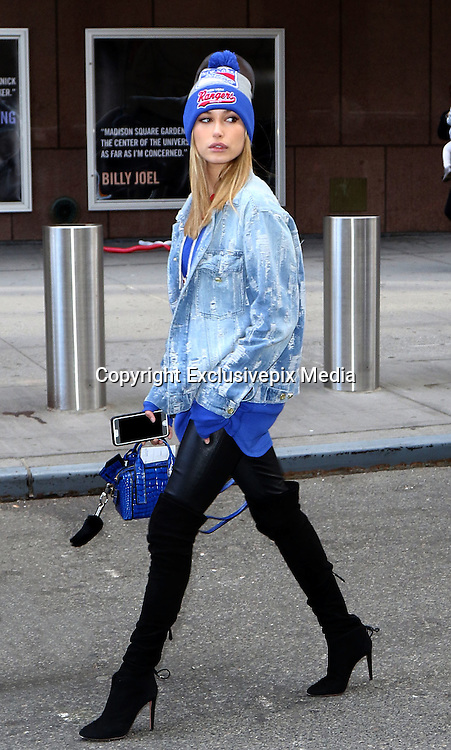 Oct. 18, 2015 - New York City, NY, USA - Model Hailey Baldwin leaves Madison Square Garden after supporting the New York Rangers ice hockey team as they played the New Jersey Devils <br /> &copy;Exclusivepix Media