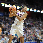 UNCASVILLE, CONNECTICUT- DECEMBER 4:  Napheesa Collier #24 of the Connecticut Huskies rebounds during the UConn Huskies Vs Texas Longhorns, NCAA Women's Basketball game in the Jimmy V Classic on December 4th, 2016 at the Mohegan Sun Arena, Uncasville, Connecticut. (Photo by Tim Clayton/Corbis via Getty Images)