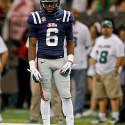 September 22, 2012; New Orleans, LA, USA; Ole Miss Rebels defensive back Wesley Pendleton (6) against the Tulane Green Wave during a game at the Mercedes-Benz Superdome. Ole Miss defeated Tulane 39-0. Mandatory Credit: Derick E. Hingle-US PRESSWIRE