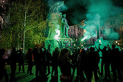 Green Dragons, ultras supporters of Ljubljana's football, basketball and ice-hockey clubs Olimpija celebrating 25th anniversary in City Centre, on October 17, 2013 at Preseren Square, Ljubljana, Slovenia. (Photo by Vid Ponikvar / Sportida)