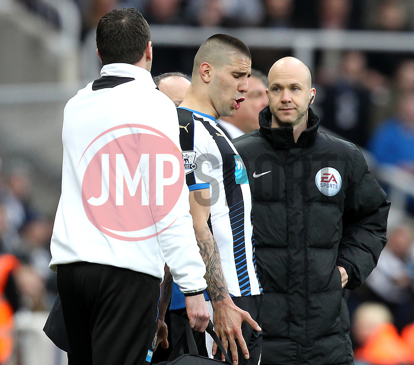 Aleksandar Mitrovic of Newcastle United shows his frustration at not being allowed back onto the pitch after picking up a head injury - Mandatory byline: Robbie Stephenson/JMP - 20/03/2016 - FOOTBALL - ST James Park - Newcastle, England - Newcastle United v Sunderland - Barclays Premier League