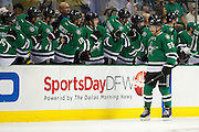 DALLAS, TX - OCTOBER 17:  Sergei Gonchar #55 of the Dallas Stars celebrates after a Stars goal against the San Jose Sharks on October 17, 2013 at the American Airlines Center in Dallas, Texas.  (Photo by Cooper Neill/Getty Images) *** Local Caption *** Sergei Gonchar