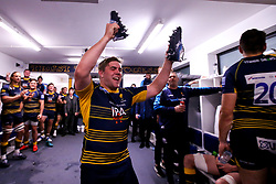 Jack Singleton of Worcester Warriors celebrates beating Gloucester Rugby and securing Premiership Rugby status - Mandatory by-line: Robbie Stephenson/JMP - 28/04/2019 - RUGBY - Sixways Stadium - Worcester, England - Worcester Warriors v Gloucester Rugby - Gallagher Premiership Rugby
