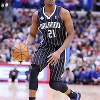 06 January 2014: Orlando Magic small forward Maurice Harkless (21) dribbles during the Los Angeles Clippers 101-81 victory over the Orlando Magic at the Staples Center, Los Angeles, California, USA.