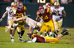Dec 26, 2009; San Francisco, CA, USA;  Boston College Eagles running back Montel Harris (2) is tackled by Southern California Trojans safety Taylor Mays (2) during the second quarter of the 2009 Emerald Bowl at AT&T Park.