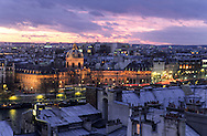 France. Paris. elevated view. The Seine river and the institut de France,  75001