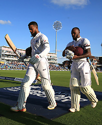 West Indies not out batsmen Shai Hope (left) and Jermaine Blackwood at the end of during day two of the the second Investec Test match at Headingley, Leeds.