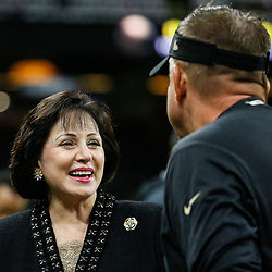Sep 9, 2018; New Orleans, LA, USA; New Orleans Saints owner Gayle Benson talks with head coach Sean Payton before a game against the Tampa Bay Buccaneers at the Mercedes-Benz Superdome. Mandatory Credit: Derick E. Hingle-USA TODAY Sports