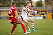 Bradford Bulls stand off Joe Keyes (7) passes the ball  during the Kingstone Press Championship match between Dewsbury Rams and Bradford Bulls at the Tetley's Stadium, Dewsbury, United Kingdom on 10 September 2017. Photo by Simon Davies.