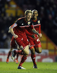 Bristol City's Jon Stead celebrates scoring the winning goal of  the game for Bristol City - Photo mandatory by-line: Joe Meredith/JMP  - Tel: Mobile: 07966 386802 - 26/01/2013 - Bristol City v Ipswich Town - SPORT - FOOTBALL - Championship -  Bristol  - Ashton Gate Stadium -