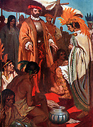 Prince Guatemozin, son-in-law of Montezuma is arrained before Cortez at the fall of Mexico City, 1524.