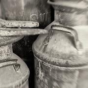 Rusted Milk Barrels - Pottsville - Merlin, Oregon - Lensbaby - Sepia Black & White
