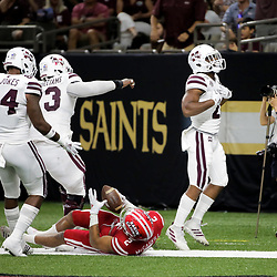 Aug 31, 2019; New Orleans, LA, USA; Mississippi State Bulldogs running back Nick Gibson (21) celebrates after a touchdown against the Louisiana-Lafayette Ragin Cajuns during the first half at the Mercedes-Benz Stadium. Mandatory Credit: Derick E. Hingle-USA TODAY Sports