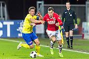 ALKMAAR - 02-03-2017, AZ - sc cambuur, AFAS Stadion, Cambuur speler Erik Bakker, AZ speler Mats Seuntjens