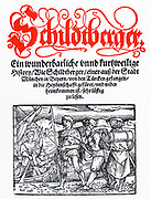 Title page of Schildtberger's 'Travels' c1554. Hans or Johann Schildtberger 1380-c1440) Bavarian nobleman, captured 1396 by Turks under Sultan Bazajet and sold into slavery in Asia. Escaped and returned home in 1421. Black and red printing.