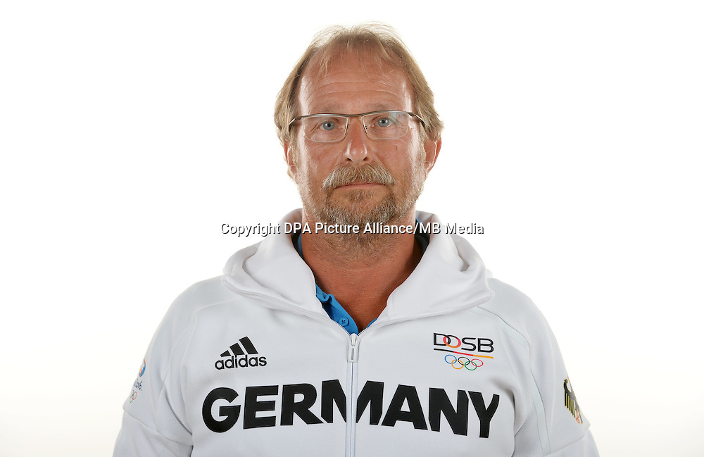 Werner Nowak poses at a photocall during the preparations for the Olympic Games in Rio at the Emmich Cambrai Barracks in Hanover, Germany. July 08, 2016. Photo credit: Frank May/ picture alliance. | usage worldwide