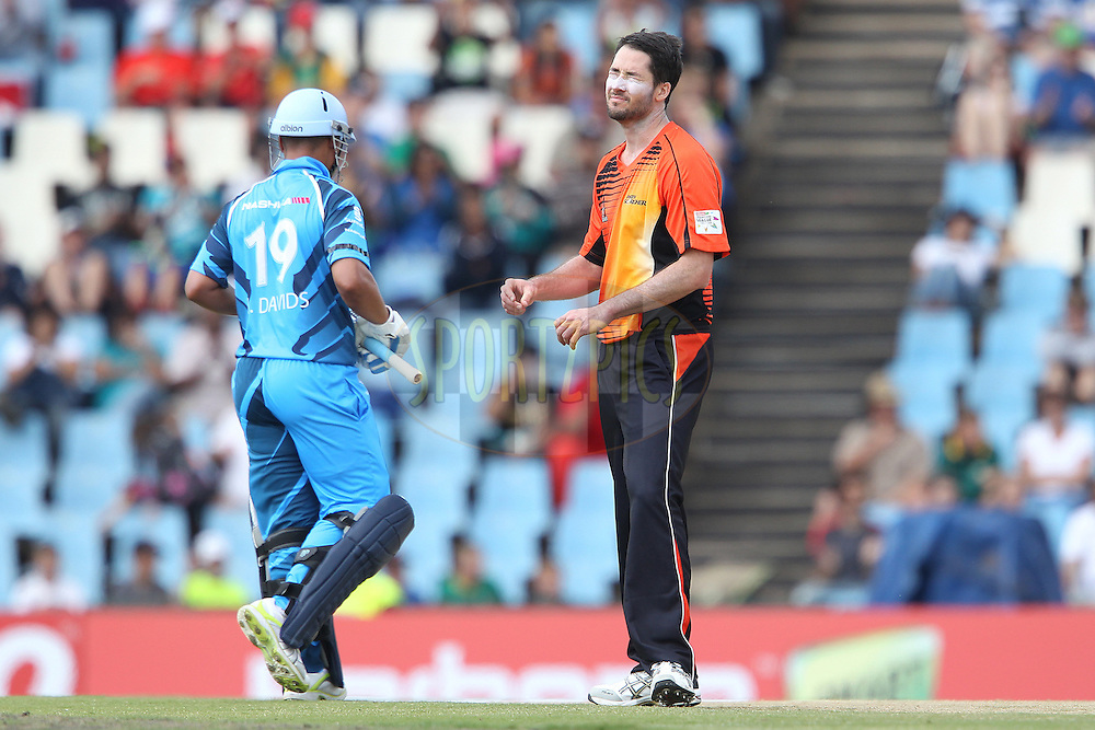 Ben Edmondson reacts after bowling during match 1 of the Karbonn Smart CLT20 South Africa between The Titans and The Perth Scorchers held at Supersport Park Stadium in Centurion, South Africa on the 13th October 2012..Photo by Ron Gaunt/SPORTZPICS/CLT20