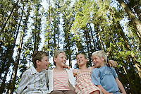 Four children (7-9) sitting in forest low angle view.