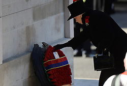 The Queen during the annual Remembrance Sunday Service at the Cenotaph, Whitehall, London, England. Sunday, 10th November 2013. Picture by Andrew Parsons / i-Images