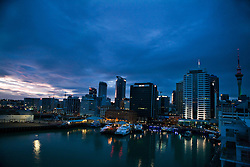 Skyline of the central business district at dawn, Auckland, New Zealand