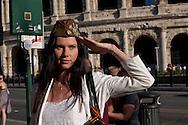 Roma 9 Maggio 2015<br /> La comunità russa a Roma a celebrato il 70° anniversario della  vittoria sulla Germania nazista nella guerra del 1941-1945,  al Colosseo.<br /> Rome, May 9, 2015<br /> The Russian community in Rome to celebrate the 70th anniversary of victory over Nazi Germany in the war of 1941-1945, in front of the Colosseum.