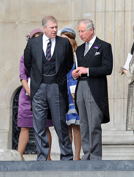 05.JUNE.2012. LONDON<br /> <br /> PRINCE ANDREW AND PRINCE CHARLES LEAVING THE SERVICE OF THANKSGIVING AS PART OF THE QUEEN'S DIAMOND JUBILEE CELEBRATIONS AT ST PAUL'S CATHEDRAL IN LONDON<br /> <br /> BYLINE: EDBIMAGEARCHIVE.CO.UK<br /> <br /> *THIS IMAGE IS STRICTLY FOR UK NEWSPAPERS AND MAGAZINES ONLY*<br /> *FOR WORLD WIDE SALES AND WEB USE PLEASE CONTACT EDBIMAGEARCHIVE - 0208 954 5968*