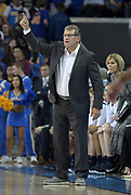 Connecticut Huskies head coach Geno Auriemma reacts during an NCAA women's basketball game against the UCLA Bruins  in Los Angeles on Tuesday, Nov. 21, 2017. UConn defeated UCLA 78-60.