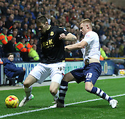 Eoin Doyle and Jose Casado battle during the Sky Bet Championship match between Preston North End and Bolton Wanderers at Deepdale, Preston, England on 31 October 2015. Photo by Pete Burns.