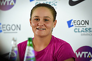 Ashleigh Barty of Australia giving a press interview after winning her semi-final (3-6) (6-4) (6-3) during the Aegon Classic Birmingham at Edgbaston Priory Club, Edgbaston, United Kingdom on 24 June 2017. Photo by Martin Cole.