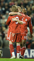 LIVERPOOL, ENGLAND - Wednesday, March 5, 2008: Liverpool's Fernando Torres celebrates scoring his, and Liverpool's second goal with team-mates during the Premiership match against West Ham United at Anfield. (Photo by David Rawcliffe/Propaganda)