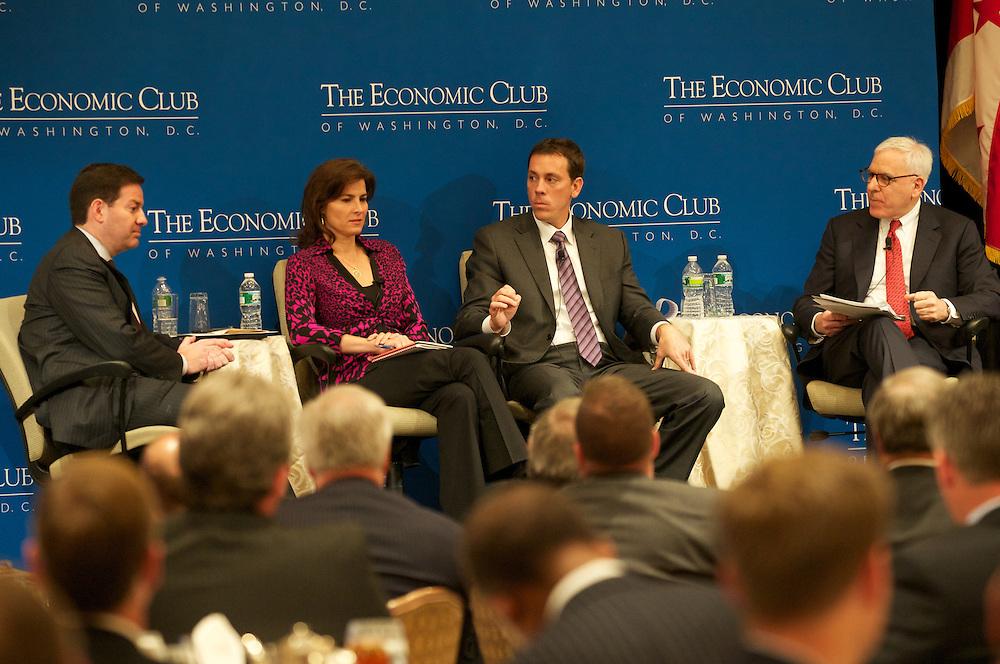 ECOW's pre-election panel, Claire Shipman, Correspondent ABC, Mark Halperin Political Analyst and Jim VandeHei, Co-Founder of POLITICO speak at the Fairmont Hotel, Washington DC