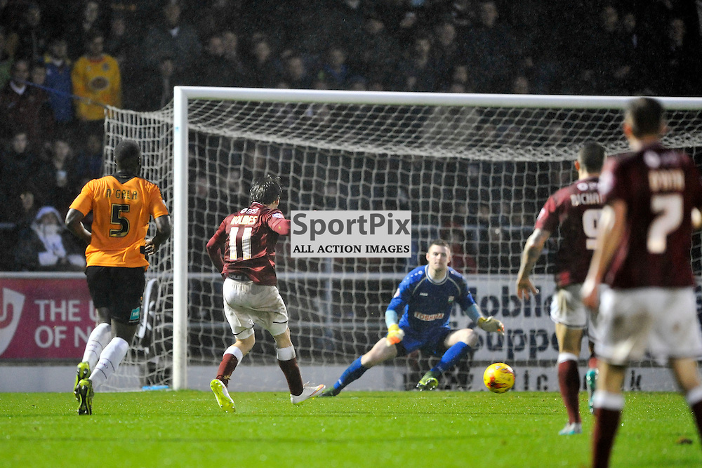 Ricky Holmes fires in Cobblers Second Goal, past Barnet Keeper Ian Lawlor, Northampton Town v Barnet FC, Sixfields Stadium, Sky Bet League Two, Saturday 2nd January 2016