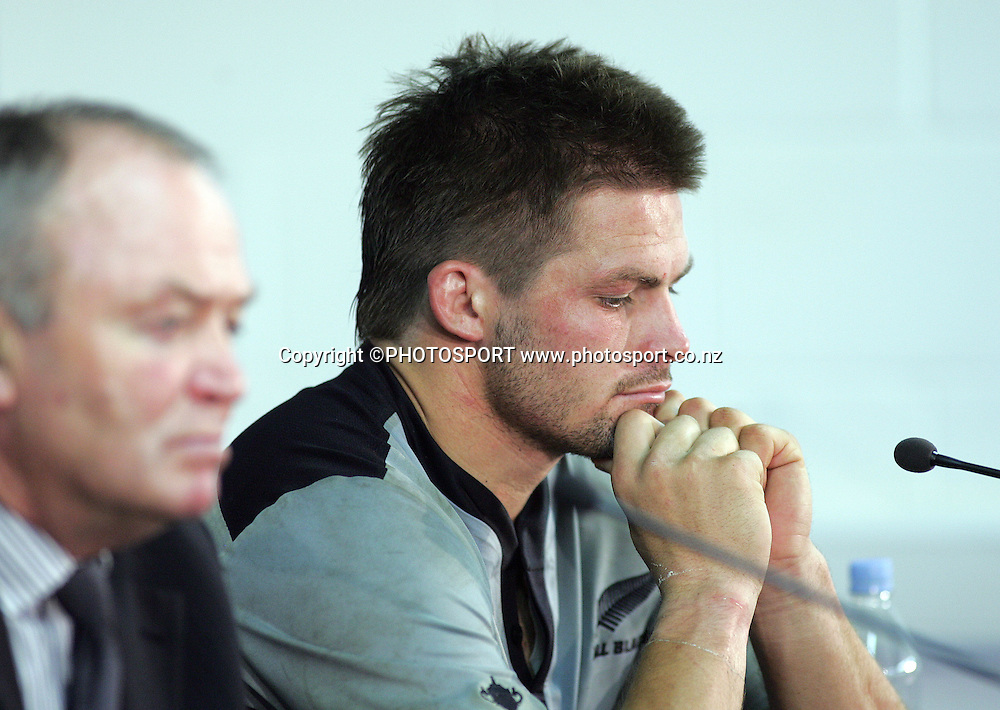 A dejected All Blacks captain Richie McCaw attends the post match press conference.<br />All Blacks v France, Rugby World Cup Quarter Final match, Millennium Stadium, Cardiff, Wales. Saturday 6 October 2007. France defeated the All Blacks 20-18. Photo: Andrew Cornaga/PHOTOSPORT