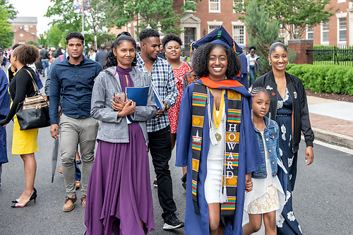 A graduating Howard student with her family.