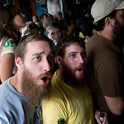 Date: 6/11/10..Fans watch the 2010 World Cup opening Group A match between South Africa and Mexico at Madiba, a South African restaurant in Fort Greene, Brooklyn on June 11, 2010.   The game finished in a 1-1 tie. ..Photo by Angela Jimenez for Newsweek .photographer contact 917-586-0916/angelajime@gmail.com