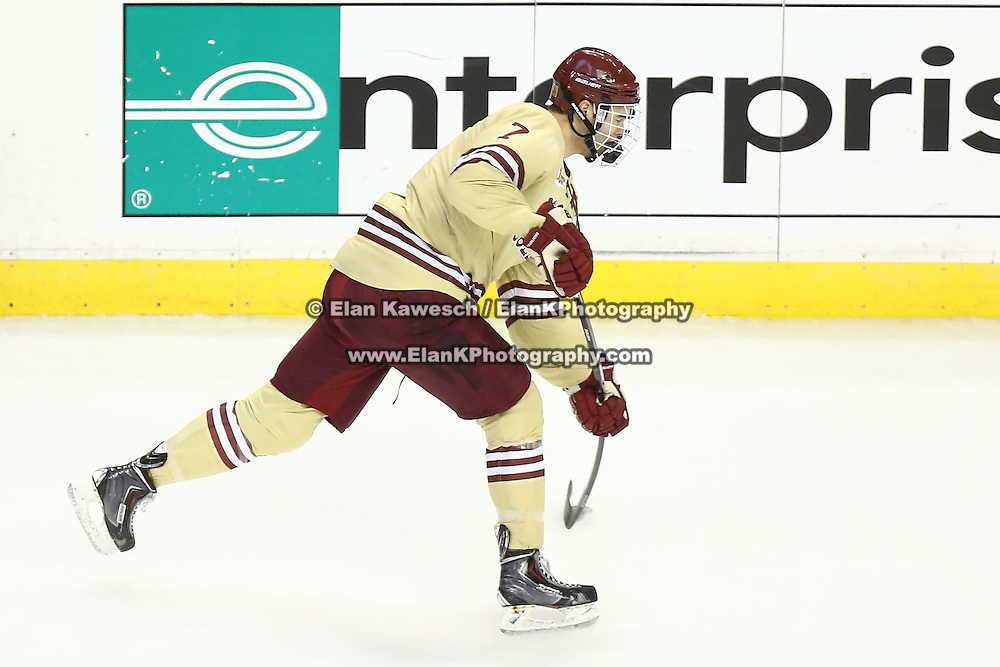 Isaac MacLeod #7 of the Boston College Eagles shoots the puck during The Beanpot Championship Game at TD Garden on February 10, 2014 in Boston, Massachusetts. (Photo by Elan Kawesch)