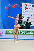 Staykova Sara during qualifying ribbon at the Pesaro World Cup 02 April 2016. Sara is an Bulgarian individual rhythmic gymnast, she was born in 13 November 1993 Plovdiv, Bulgaria.She retired from rhythmic gymnastics in May 2016.