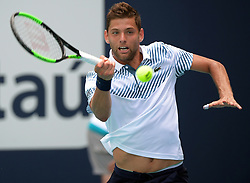 March 23, 2019 - Miami Gardens, Florida, United States Of America - MIAMI GARDENS, FLORIDA - MARCH 23:  Filip Krajinovic day 6 of the Miami Open Presented by Itau at Hard Rock Stadium on Saturday on March 23, 2019 in Miami Gardens, Florida..People: Filip Krajinovic. (Credit Image: © SMG via ZUMA Wire)