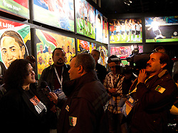 Ruth Rensburg, representative from the Nelson Mandela Foundation speaks at a Live Quest painting event showcasing the paintings of key moments of the 2010 FIFA World Cup at the adidas Jo'bulani Centre in Sandton on June 30, 2010 in Johannesburg, South Africa. The paintings are available to buy through an eBay auction on www.ebay.co.uk/adidas46664auction. All proceeds raised will go to Nelson Mandela's 46664 Foundation. (Photo by Vid Ponikvar / Sportida)