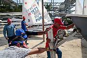 World Sailing Emerging Nations Program - Boca Chica Sailing Club, Santo Domingo 08/19/2017 - DAY 1- Participants prepare boats before practice