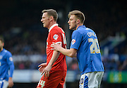 Leyton Orient Midfielder/Head Coach Kevin Nolan marked by Portsmouth defender Matt Clarke during the Sky Bet League 2 match between Portsmouth and Leyton Orient at Fratton Park, Portsmouth, England on 6 February 2016. Photo by Adam Rivers.