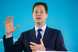 © Licensed to London News Pictures. 28/05/2014. LONDON, UK. Deputy Prime Minister Nick Clegg gives a speech on International Development at The Village Hall in Hoxton Square, London on Wednesday, 28 May 2014. Photo credit : Tolga Akmen/LNP