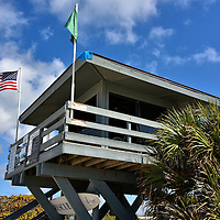 Lifeguard Tower at Nokomis Beach on Casey Key in Sarasota, Florida<br />